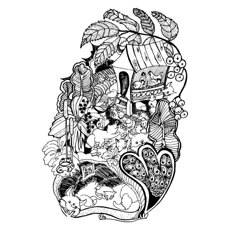 Illustration de la vie de Fox dans une forêt dans un trou illustration libre de droits