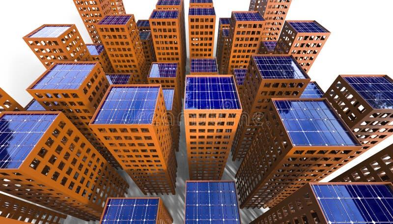Illustration de la ville 3d de concept d'énergie solaire de durabilité illustration libre de droits