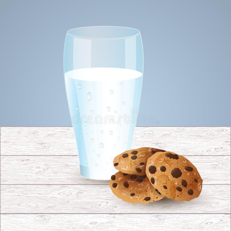 Illustration de lait et de biscuits, puce de chocolat photographie stock libre de droits