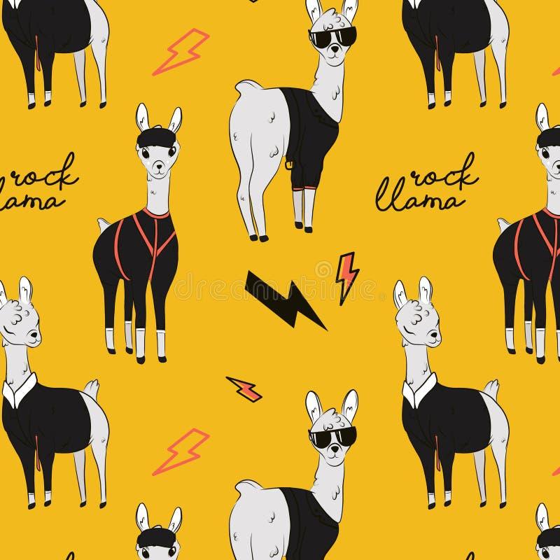Illustration de lama de roche Caractère d'alpaga de bande dessinée dans la veste de leahter de roche, vêtements de mode Tissus de illustration stock