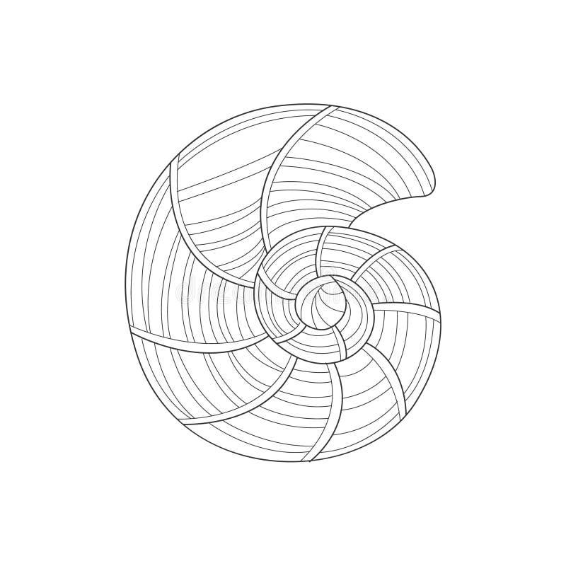 Illustration de livre de coloriage noire et blanche de Shell Sea Underwater Nature Adult Zentangle de mollusque de Nautilus illustration de vecteur