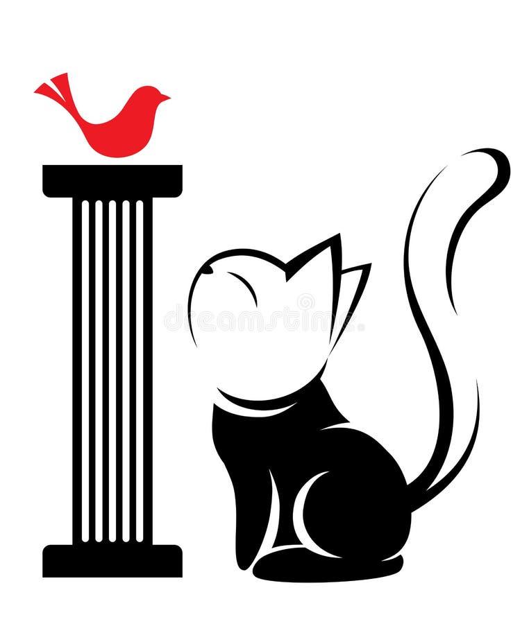 Illustration de logo de chat sur le fond blanc illustration libre de droits