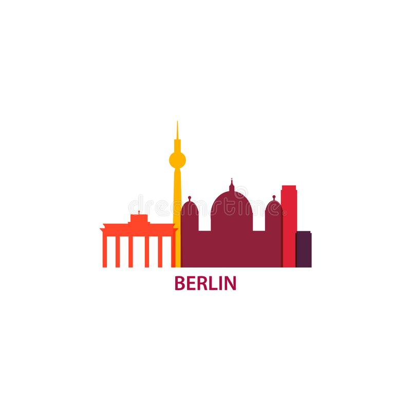 Illustration de logo d'horizon de capitale de Berlin illustration libre de droits