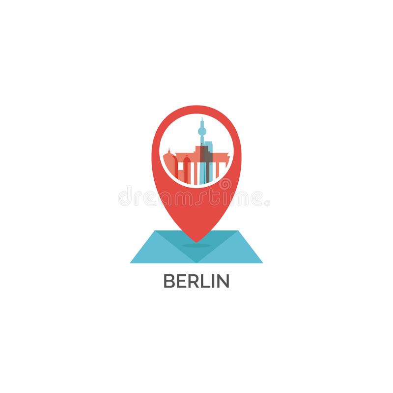 Illustration de logo d'horizon de capitale de Berlin illustration stock
