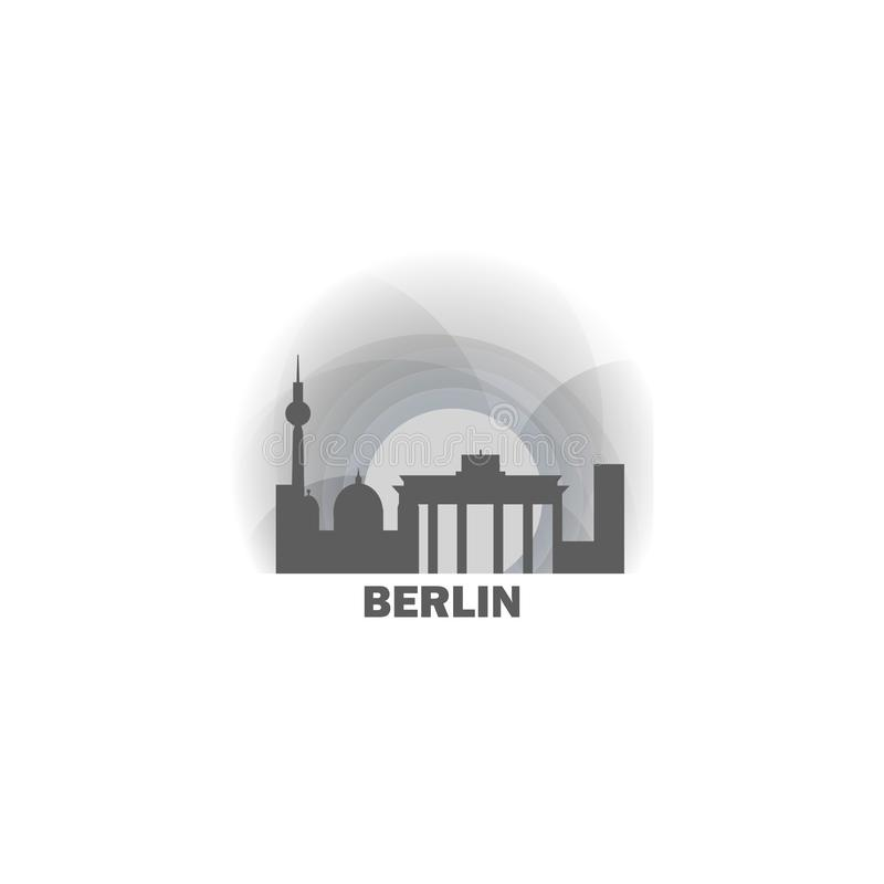 Illustration de logo d'horizon de capitale de Berlin illustration de vecteur