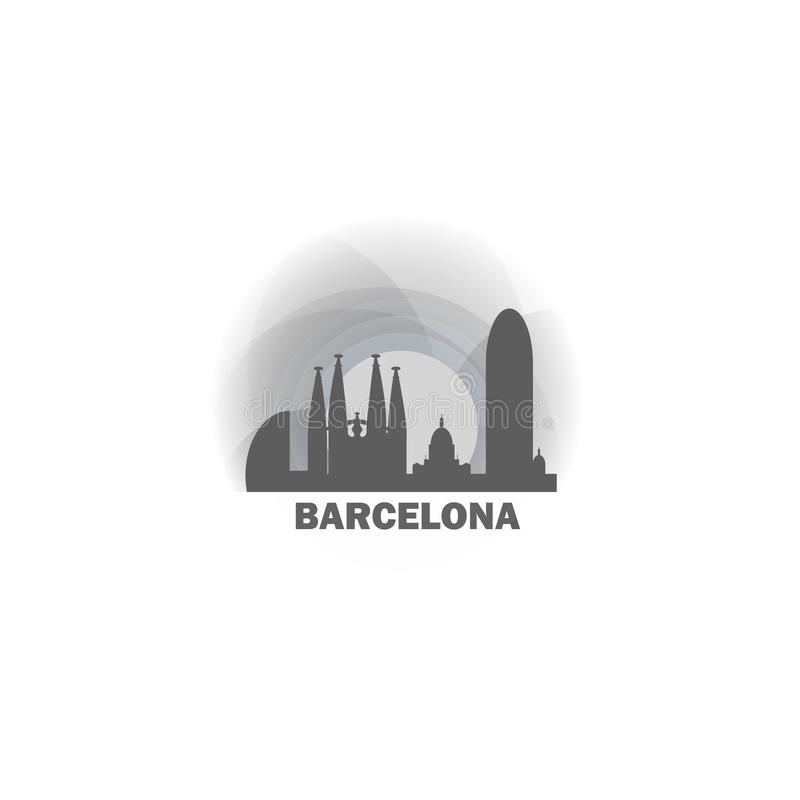 Illustration de logo d'horizon de ville de Barcelone illustration libre de droits