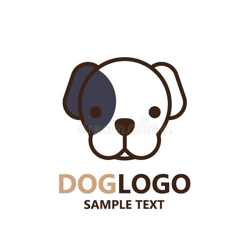 Illustration de logo mignon de chien sur le fond blanc photographie stock