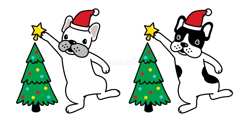 Illustration de logo de personnage de dessin animé de chiot d'icône d'étoile de Noël de chapeau de Santa Claus de bouledogue fran illustration libre de droits