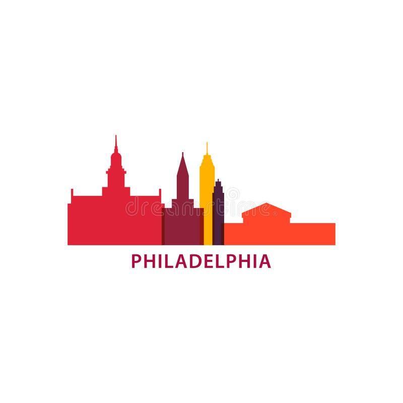 Illustration de logo de vecteur de silhouette d'horizon de ville de Philadelphie illustration stock