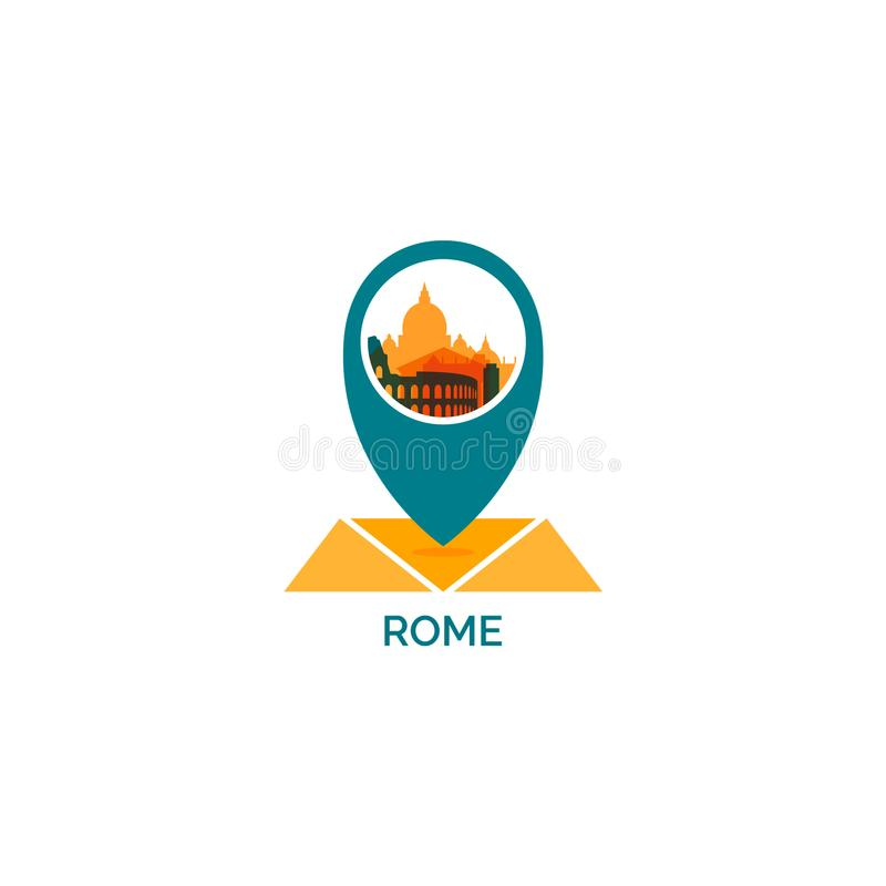 Illustration de logo de vecteur de silhouette d'horizon de ville de Rome illustration stock