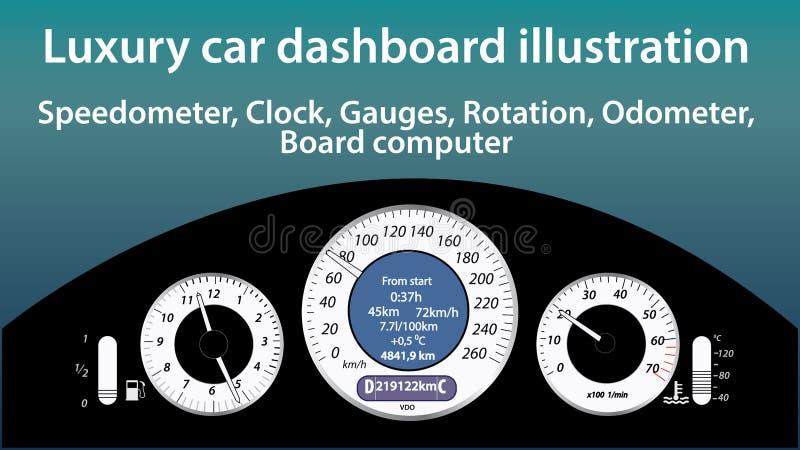 Illustration de luxe de tableau de bord de voiture - mesures, tachymètre, horloge, la température, niveau de gaz, indicateurs d'o illustration de vecteur