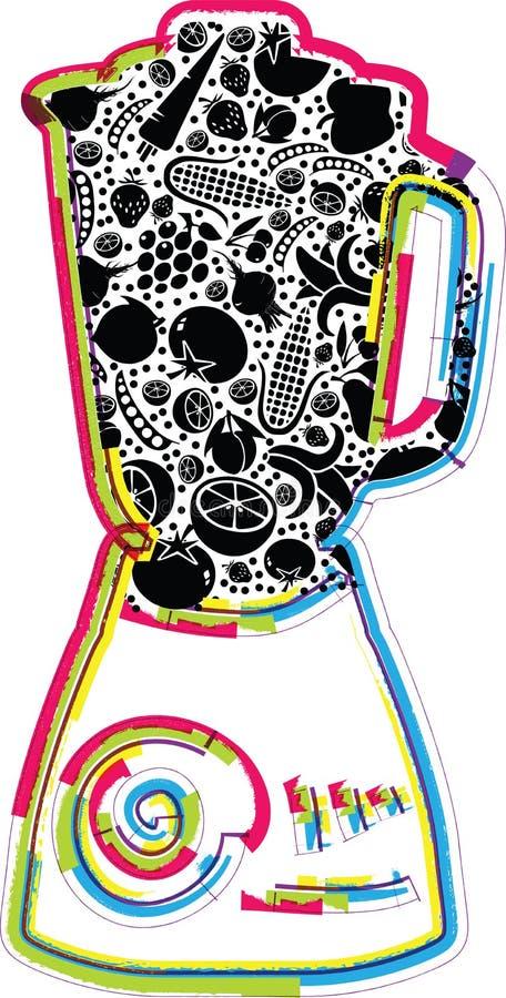 Illustration de mélangeur avec des fruits et légumes illustration libre de droits