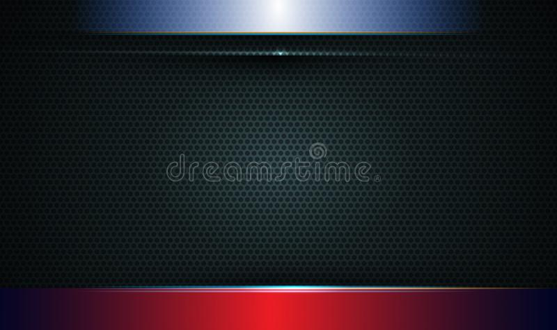 Illustration de métallique bleu, rouge et noir abstrait avec le rayon léger et la ligne brillante Conception de cadre en métal po illustration libre de droits