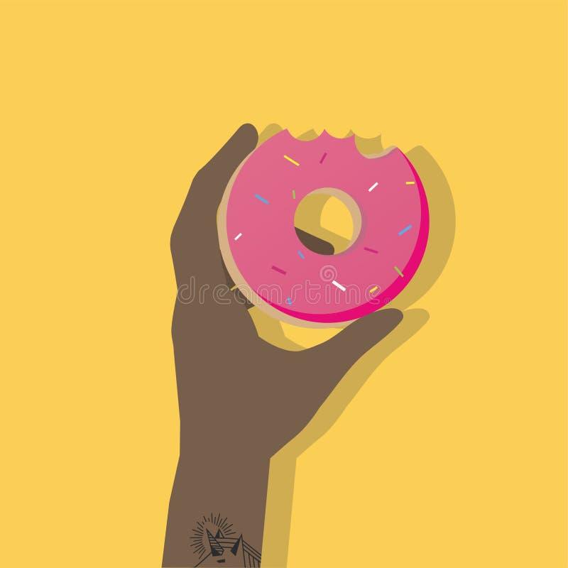 Illustration de main et de beignet illustration de vecteur