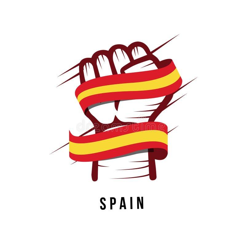 Illustration de main de l'Espagne et de conception de calibre de vecteur de drapeau illustration libre de droits