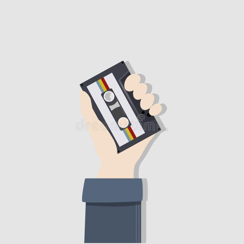 Illustration de main tenant l'enregistreur à cassettes illustration de vecteur