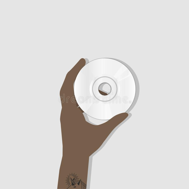 Illustration de main tenant le CD illustration libre de droits