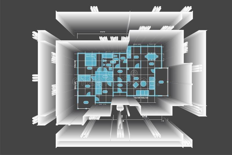 Illustration de maison de plan illustration de vecteur