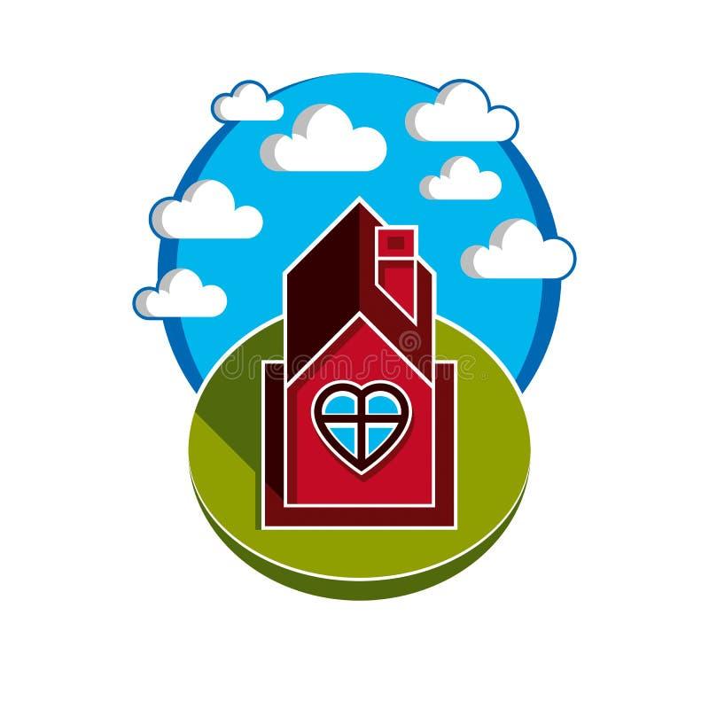 Illustration de maison sur le fond nuageux, beau vect féerique illustration libre de droits