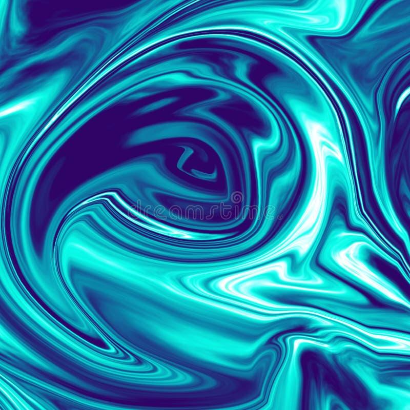 Illustration de marbre liquide chromatique bleu-foncé fraîche illustration stock