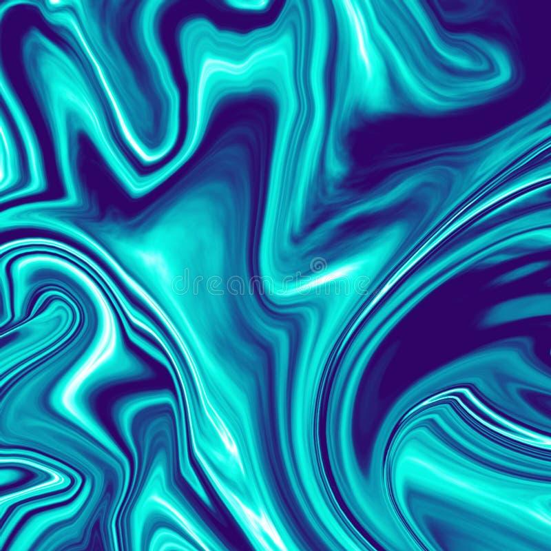 Illustration de marbre liquide chromatique bleu-foncé fraîche illustration de vecteur