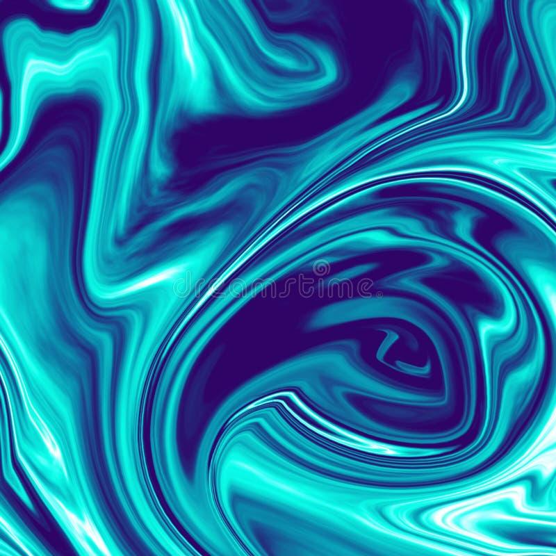 Illustration de marbre liquide chromatique bleu-foncé fraîche illustration libre de droits