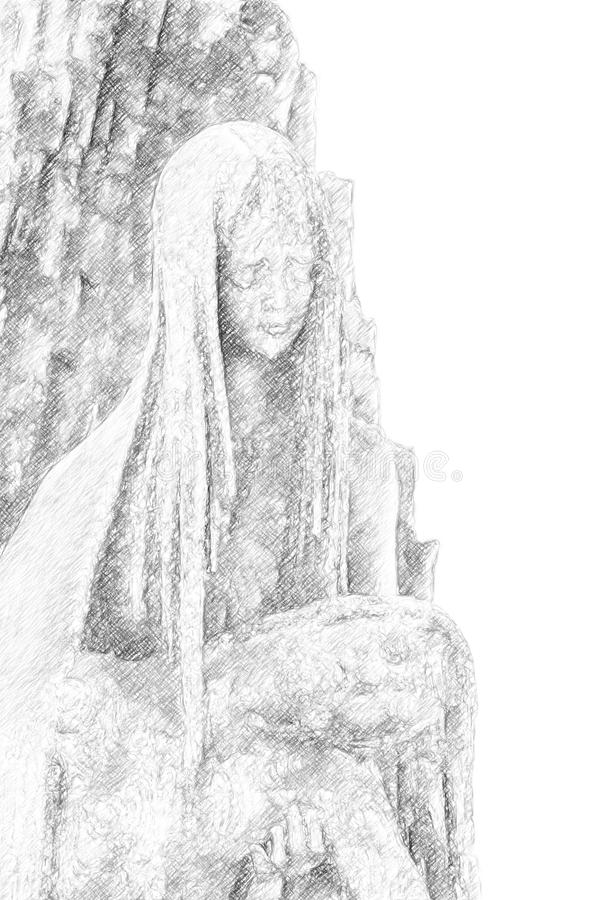 Illustration de Mary tenant Jesus Christ images libres de droits