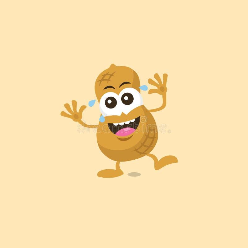 Illustration de mascotte riante d'arachide mignonne illustration stock