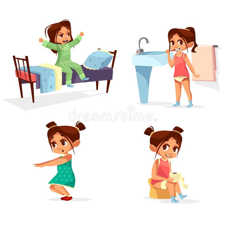 Illustration de matin d'enfant de fille de l'activité courante quotidienne d'enfant de bande dessinée se réveillant, lavant et ex illustration stock