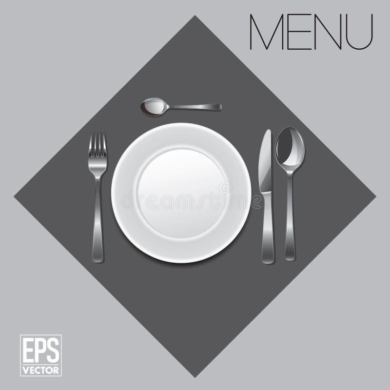 Illustration de menu avec le plat et les couverts illustration de vecteur