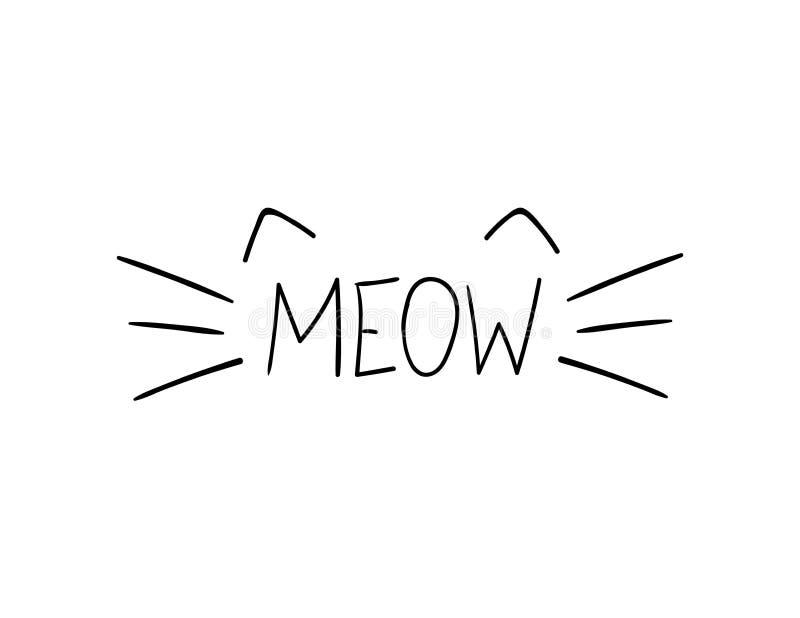 Illustration de miaulement de griffonnage de vecteur, Cat Whiskers Hand Drawn Illustration illustration libre de droits