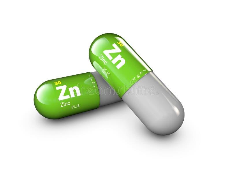 Illustration de minerai de zinc Capsule de pilule de baisse et complexe brillants de vitamine Supplément diététique médical de la illustration libre de droits