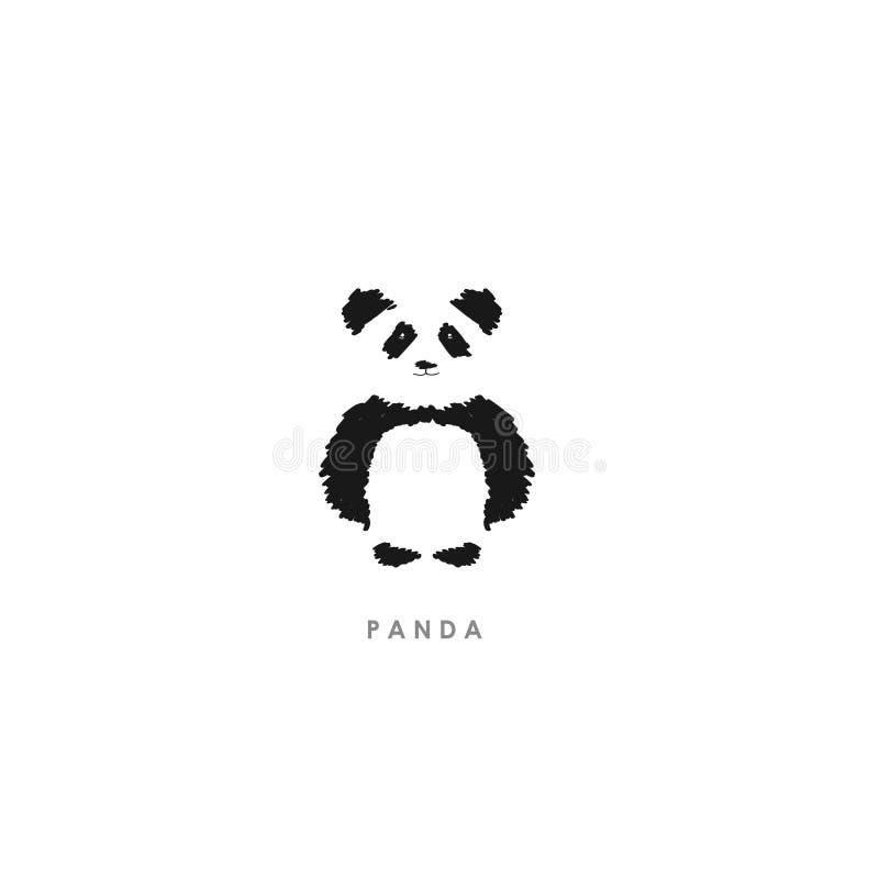 Illustration de Minimalistic de brosse Logo mignon de panda - vecteur illustration libre de droits