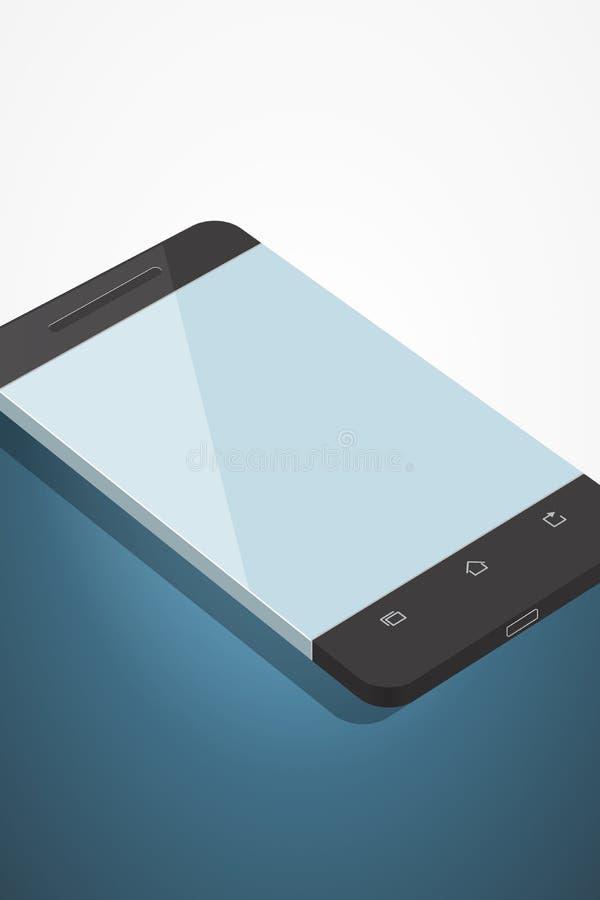 Illustration de Minimalistic de téléphone dans le style plat Vue de point de vue Smartphone générique de maquette Calibre pour l' illustration stock