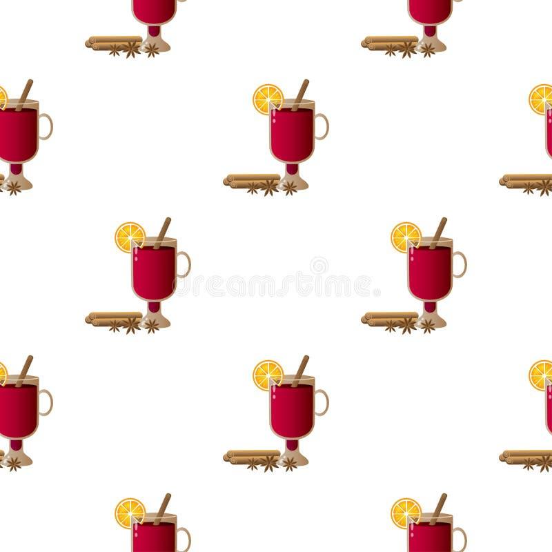 Illustration de modèle avec la composition des bâtons de cannelle, des verres irlandais avec du vin chaud, des tranches oranges e illustration stock