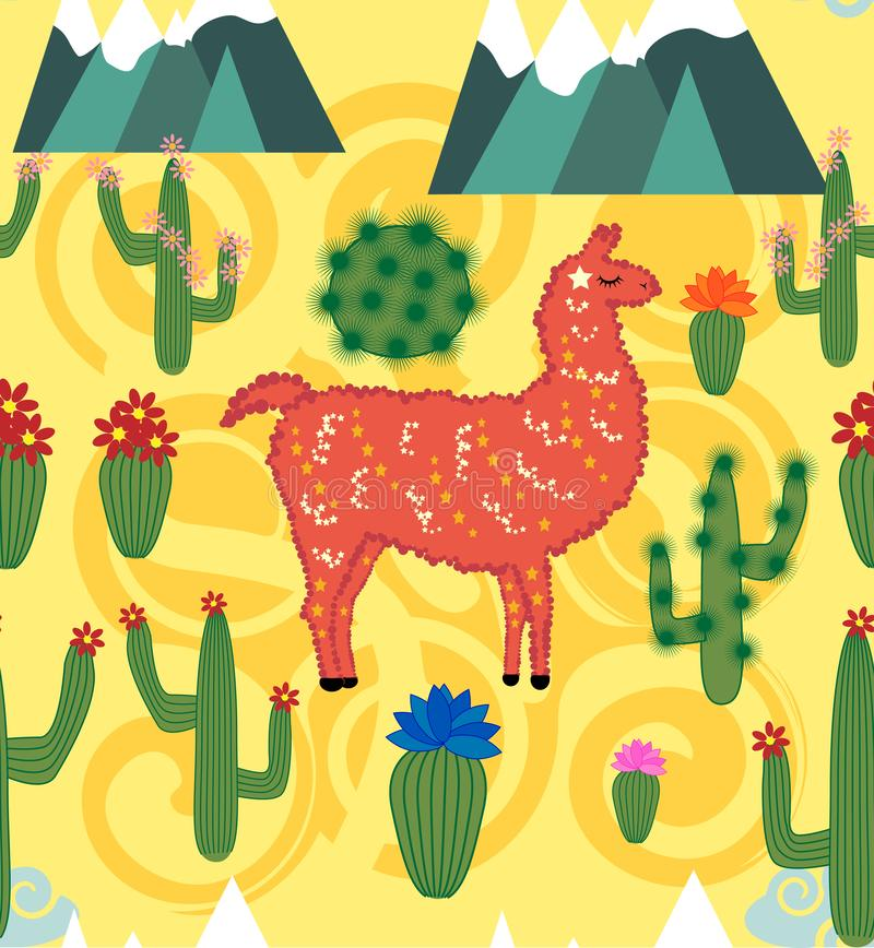 Illustration de modèle sans couture avec l'alpaga mignon de lama de bande dessinée avec des éléments de cactus et de conception s illustration stock