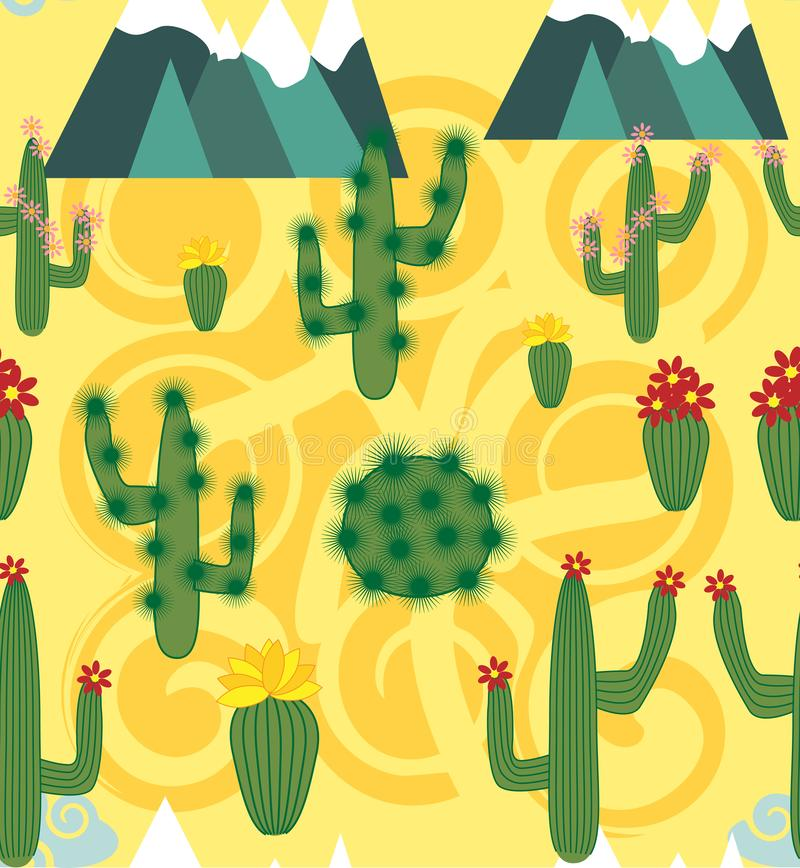 Illustration de modèle sans couture avec l'alpaga mignon de lama de bande dessinée avec des éléments de cactus et de conception s illustration de vecteur