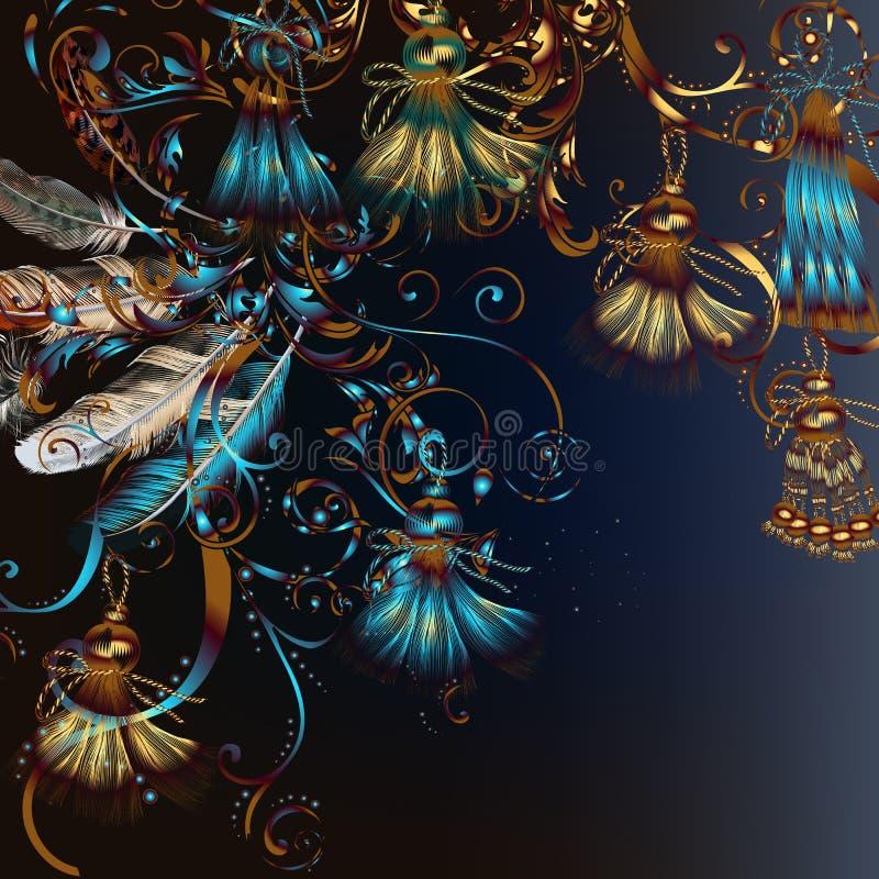 Illustration de mode avec des plumes et des tassles illustration de vecteur
