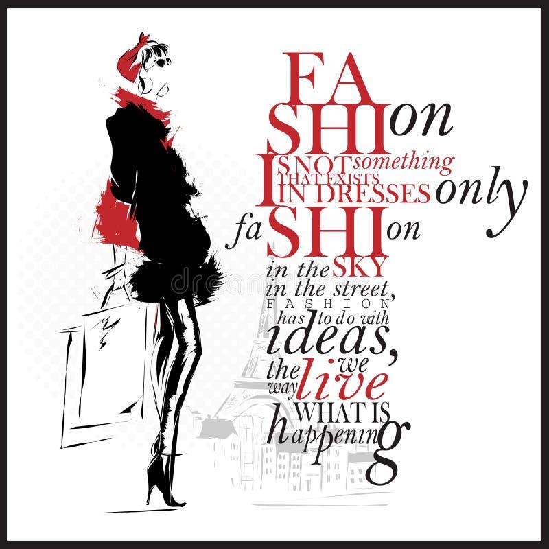 Illustration de mode avec la citation Femme moderne et fond blanc illustration libre de droits