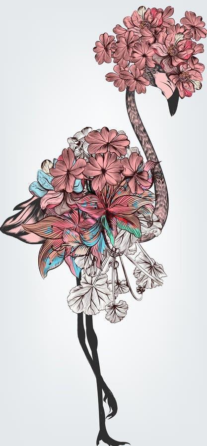 Illustration de mode avec les fleurs tirées par la main de vecteur de flamant illustration stock