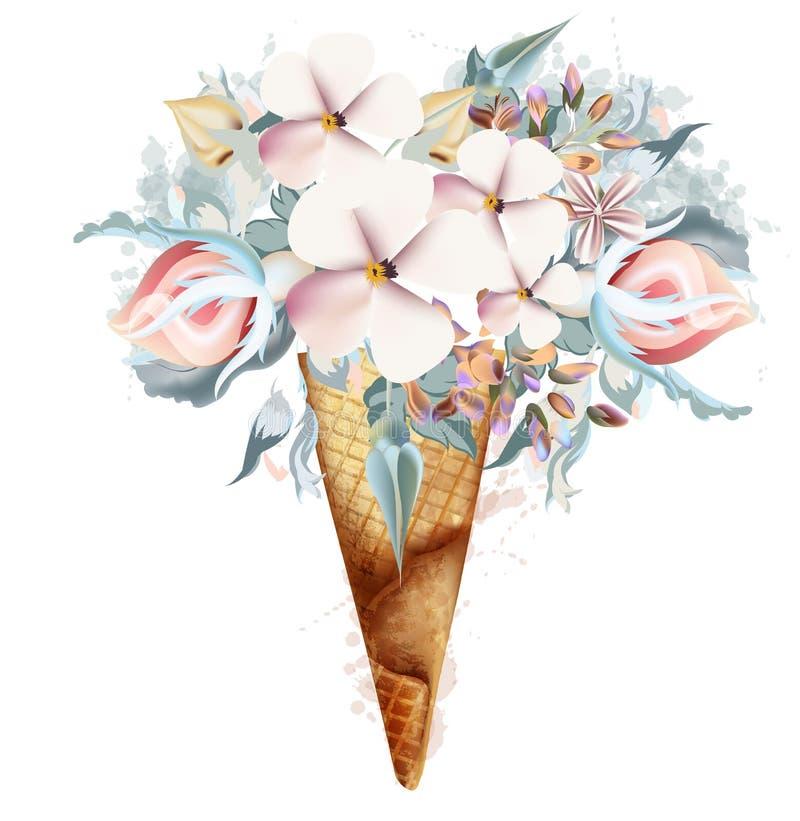 Illustration de mode, copie pour le T-shirt avec la crème glacée des fleurs de ressort illustration libre de droits