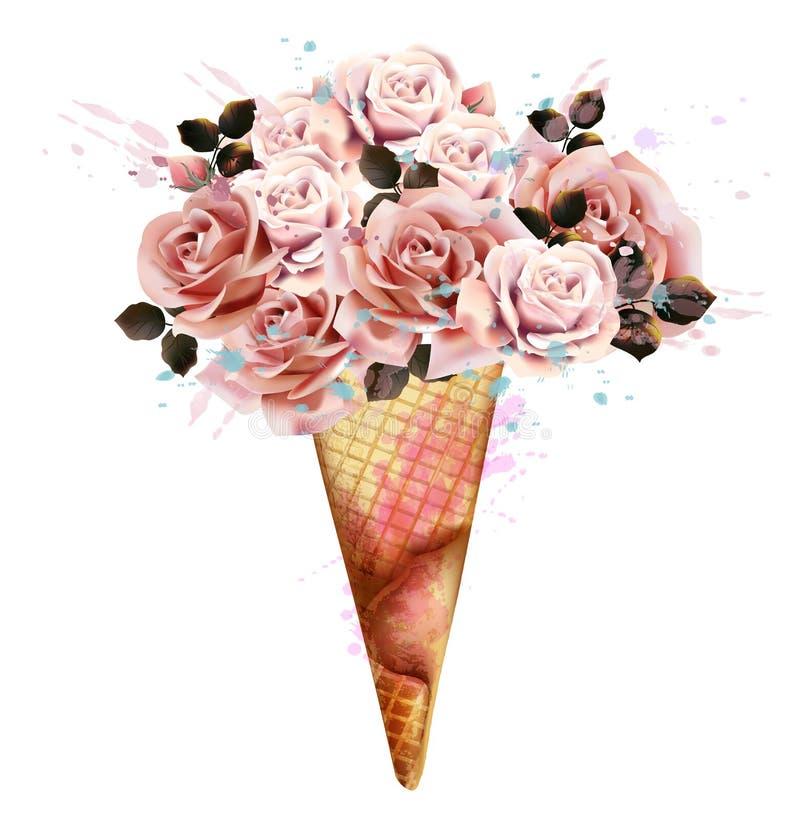 Illustration de mode, copie pour le T-shirt avec la crème glacée des fleurs roses illustration de vecteur