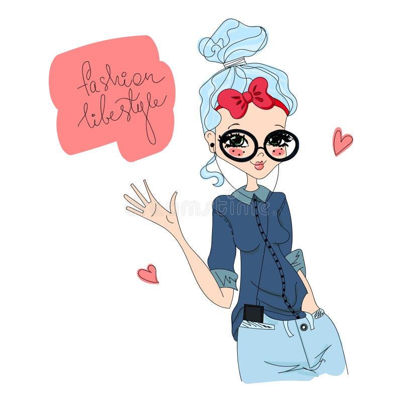 Illustration de mode de vie de mode de vecteur avec un mannequin illustration libre de droits