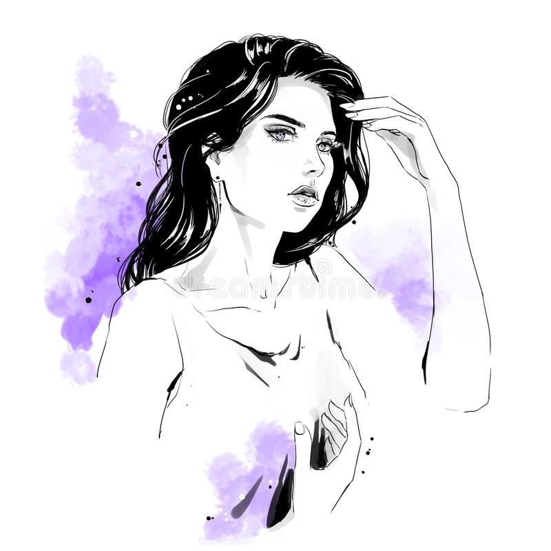 Illustration de mode, portrait de femme illustration stock