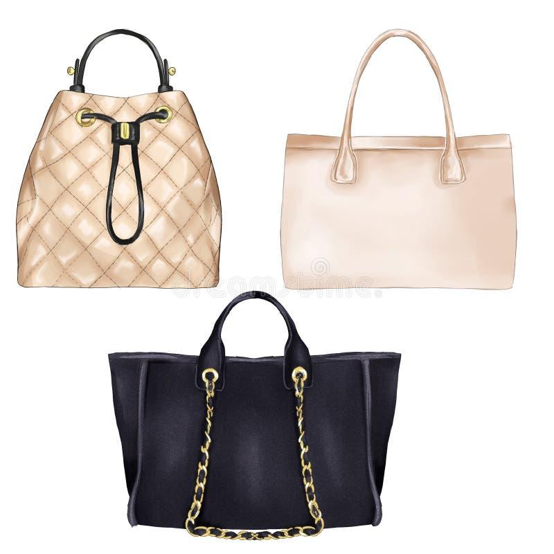 Illustration de mode - types diifferent de sacs à main à femmes photos stock
