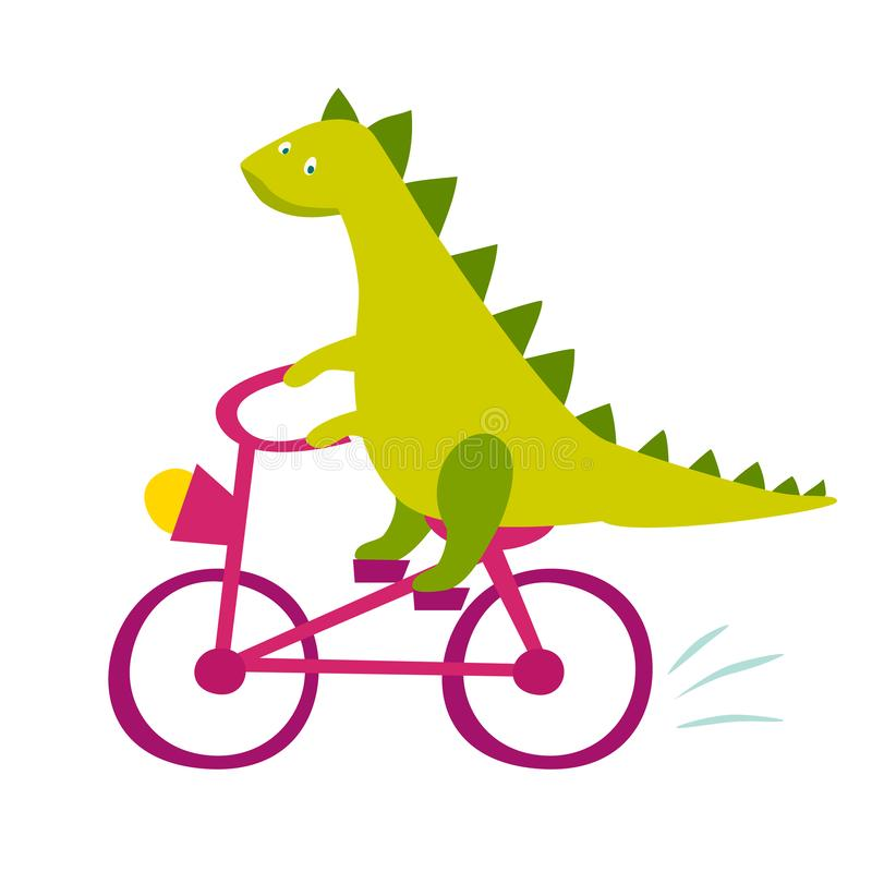 Illustration de monte de vecteur de bicyclette de dinasaur mignon illustration de vecteur