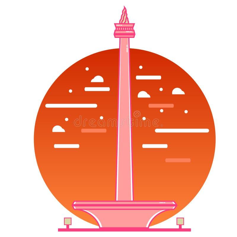 Illustration de monument national de Jakarta illustration stock