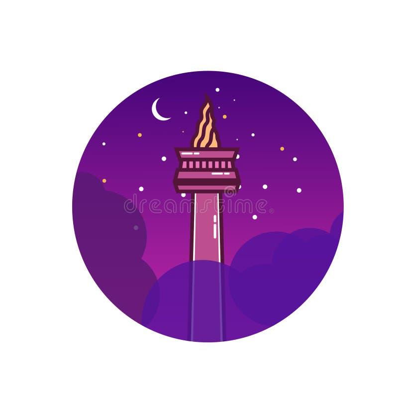 Illustration de monument national de Jakarta illustration de vecteur