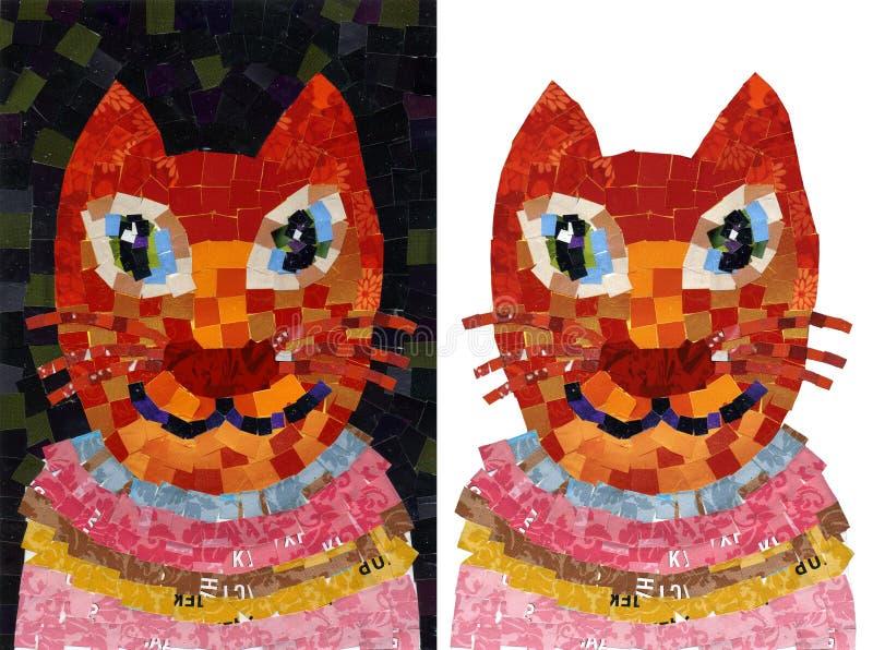 Illustration de mosaïque de collage de portrait de chat illustration de vecteur