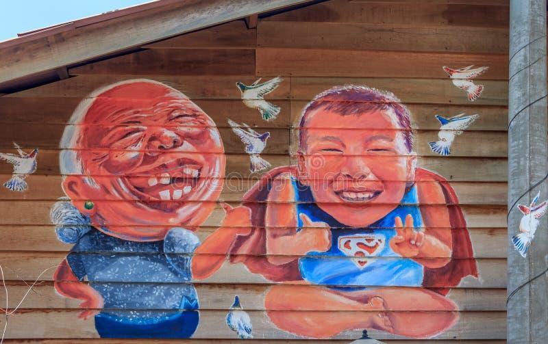 Illustration de mur de Penang à la jetée de mastication photo stock